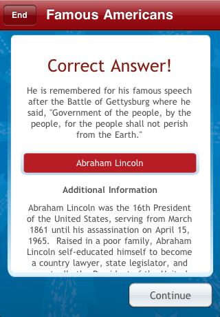 Screenshot U.S. Embassy Trivia